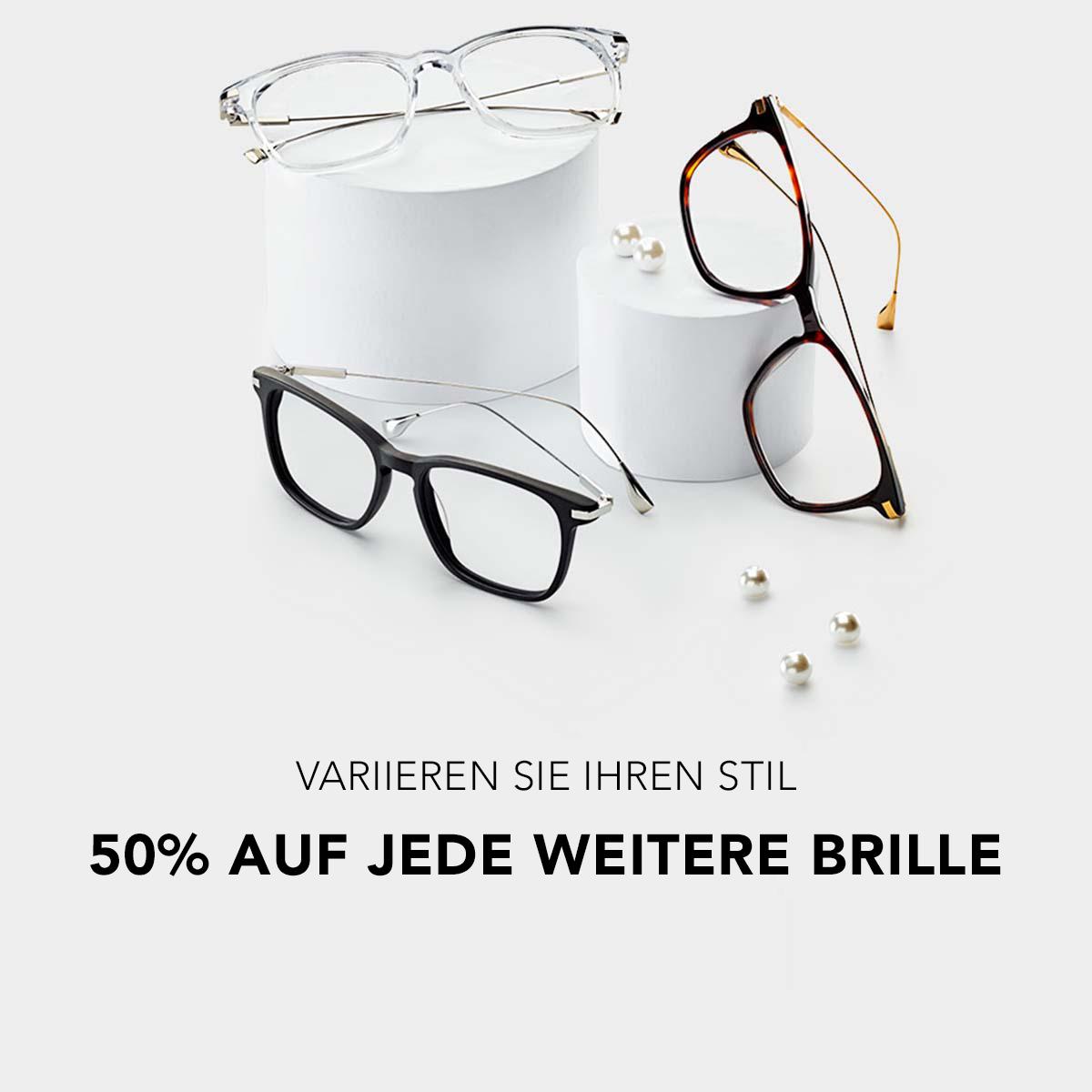 50% auf jede weitere Brille